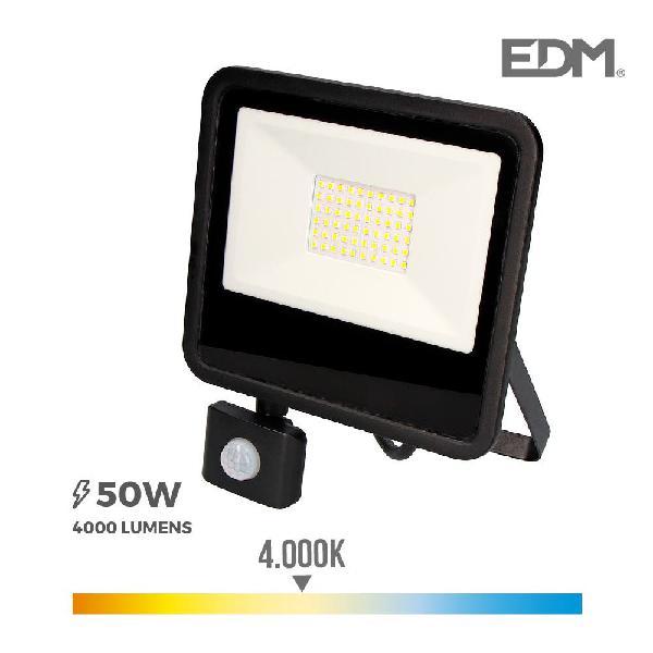 Foco proyector led 50w 4000lm 4000k luz con sensor