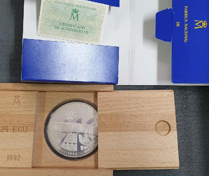 Moneda plata 25 ecu españa 1992. capital cultura