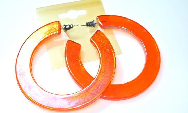 Pendientes de aro naranja luminoso, diametro 6.2 cms, nuevos