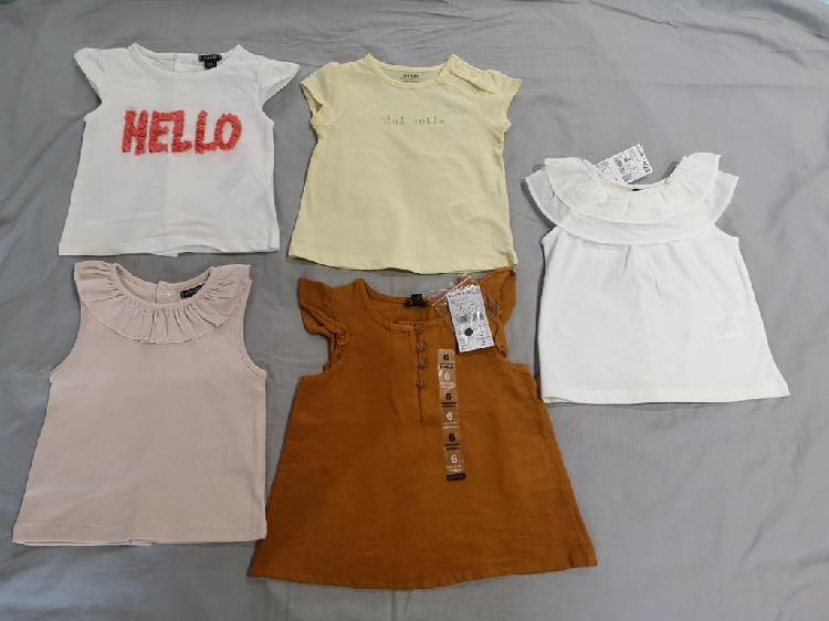 Lote camisetas verano bebe niña 6 meses