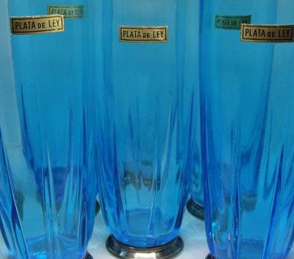 Juego 6 vasos de cristal azul turquesa con plata