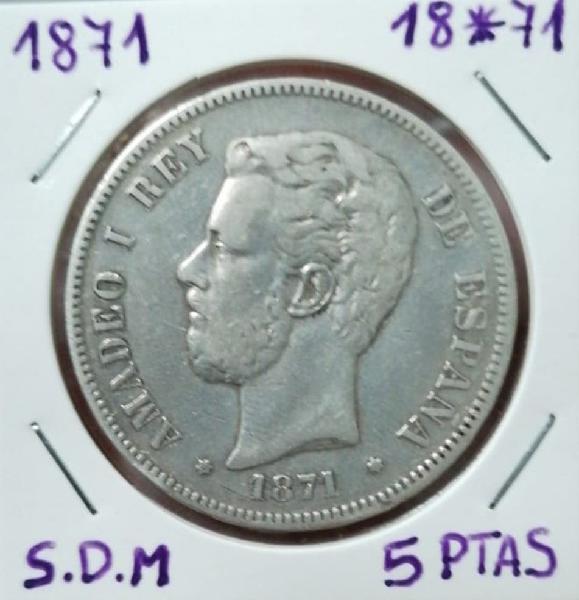 España5 pesetas plata amadeo i 1871 *18 *71