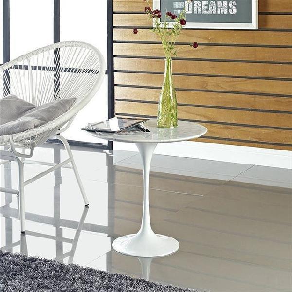 Mesa tul, baja, aluminio, mármol blanco de 50 cms
