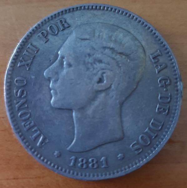 Moneda plata alfonso xii 1881 5 pesetas