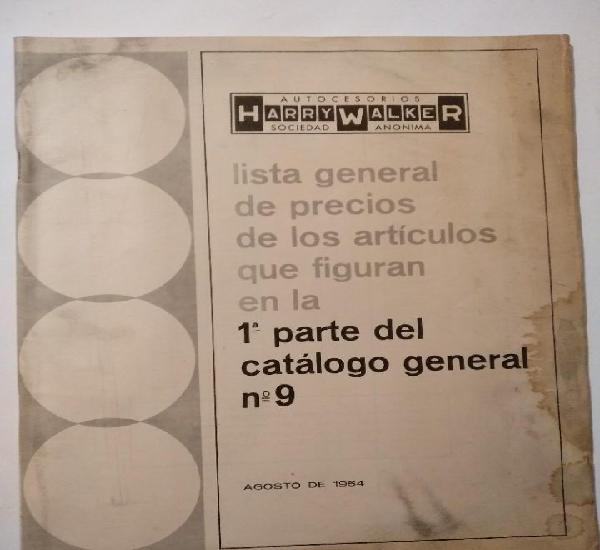 Lista general de precios de artículos - harry walker - 1964