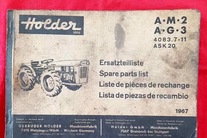 Lista piezas de recambio holder, año 1967