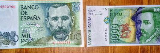 2 billetes de 1000 pesetas.