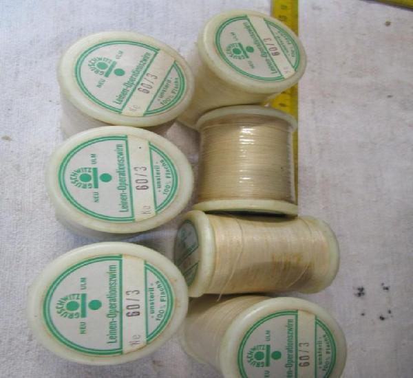 Liquidacion 7 bobinas de hilo de seda para suturas aprox