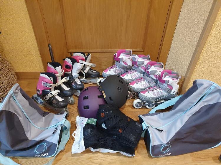 Conjunto de patines, protecciones, bolsa, casco