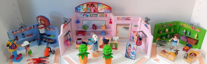 Paseo comercial con tres tiendas playmobil referencia 9078
