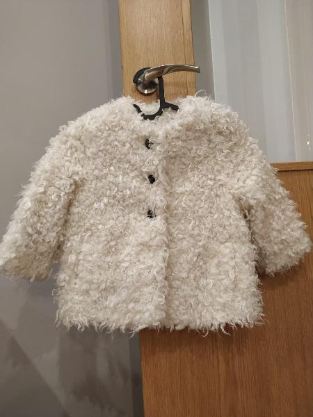 Abrigo niña lana blanco, talla 3-4 mango