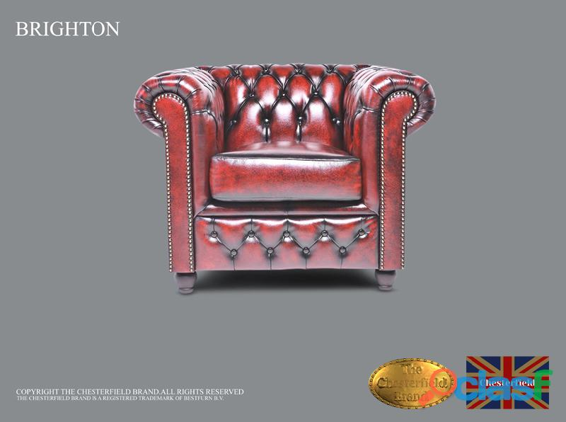 Sillón Cheste Brighton Classic ,Rojo antiguo, Cuero ,The Chesterfield Brand