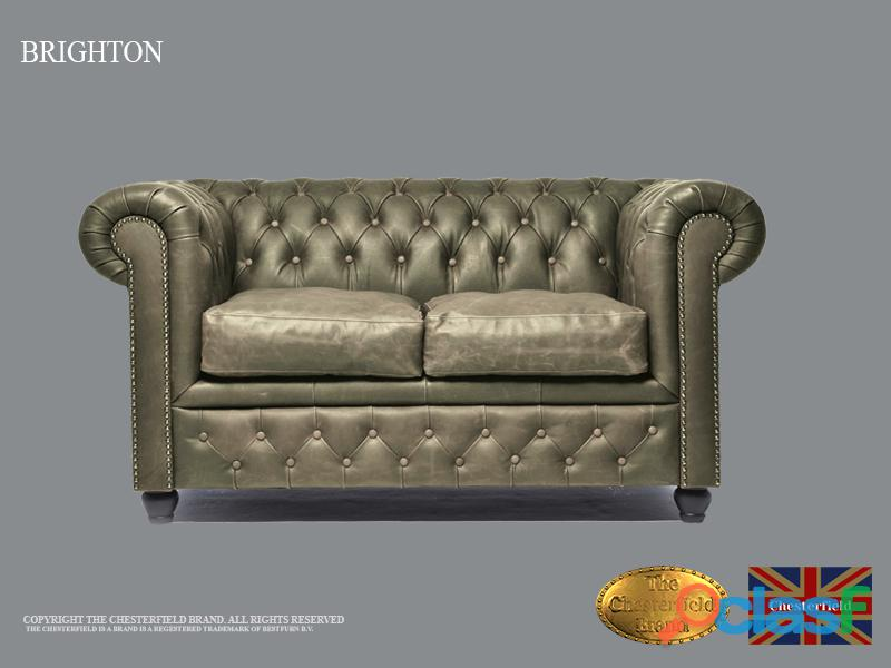 Sofá Chester 2 plazas, Vintage Gris ,Cuero, The Chesterfield Brand