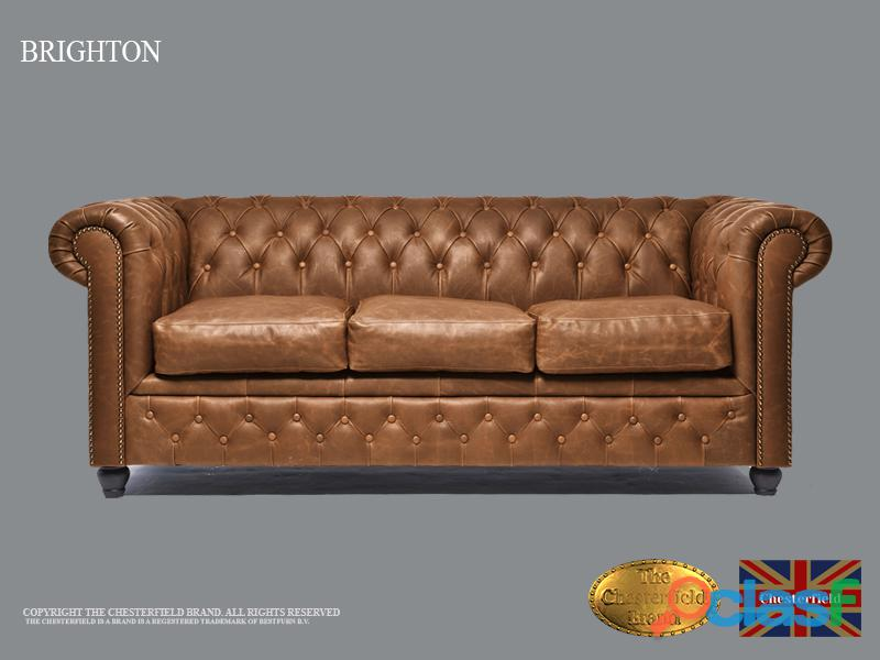 Sofá Chester Vintage Mocha, 3 plazas, Cuero, The Chesterfield Brand