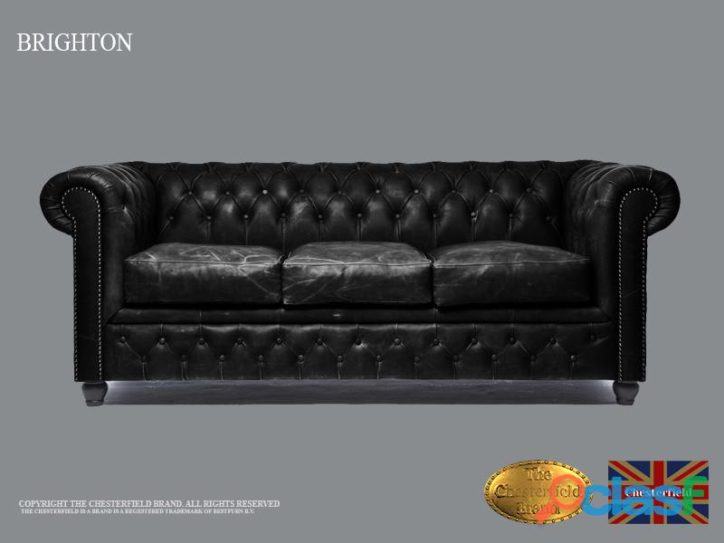 Sofá Chester Vintage Negro,3 plazas, Cuero,The Chesterfield Brand