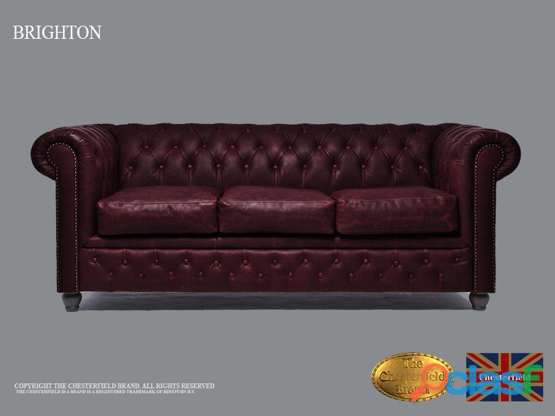 Sofá Chester Vintage,Rojo Burdeos, 3 plazas, Cuero, The Chesterfield Brand