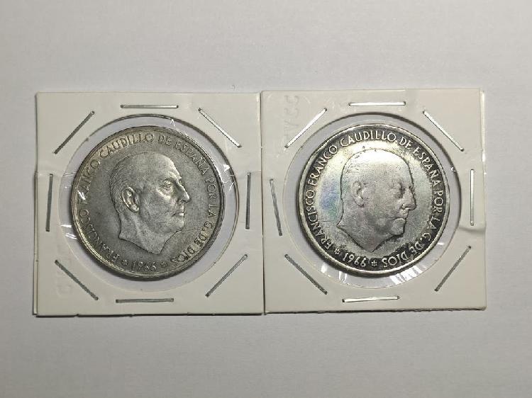 2x monedas 100 pesetas 1966 plata
