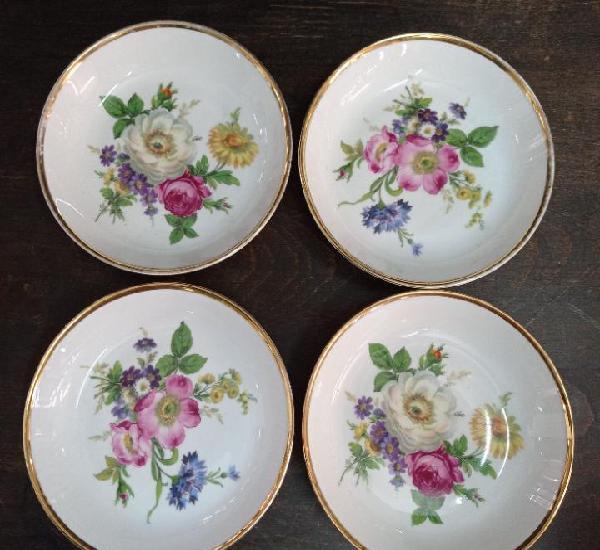 4 platos porcelana alemana bayreuth, gloria, de 14,50 cms de
