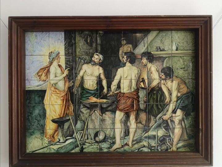 Gran panel azulejos de alcora velazquez apollo y la fragua