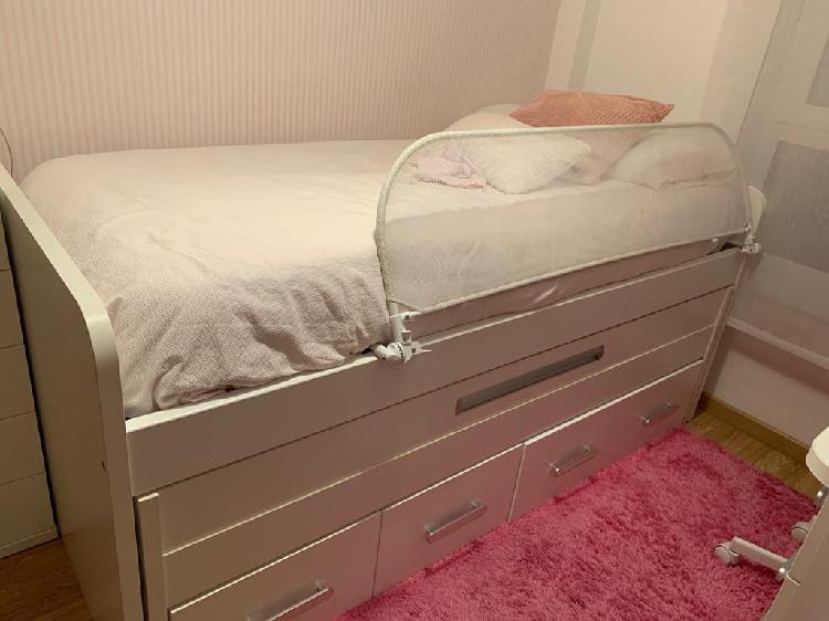 Habitación niña, cama compacta nido con cajones