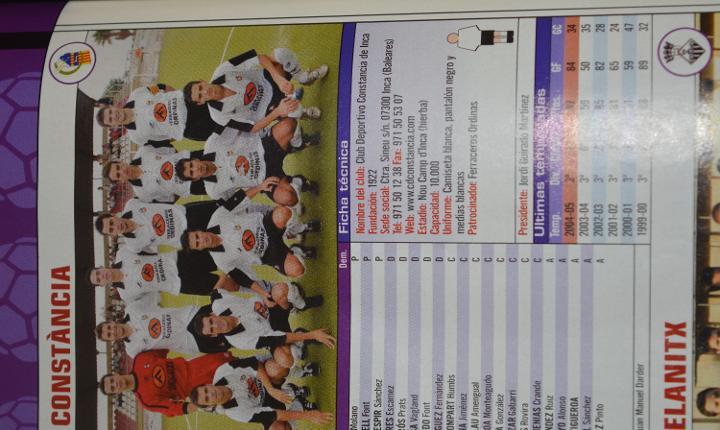 Recorte de don balon extra liga 2005-06.foto y lista de