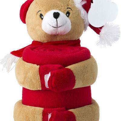 Peluche oso de navidad con manta polar de 102x77cm