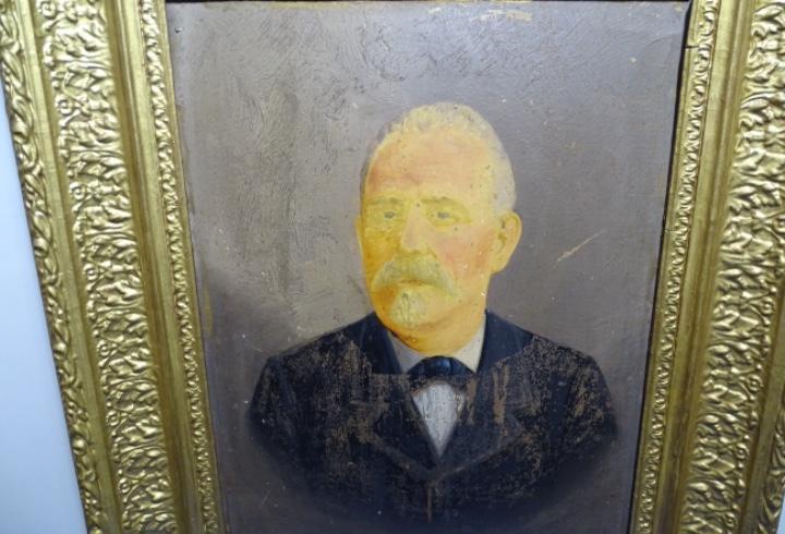 Antiguo retrato al óleo sobre tabla firmado a. lotz 1897 en