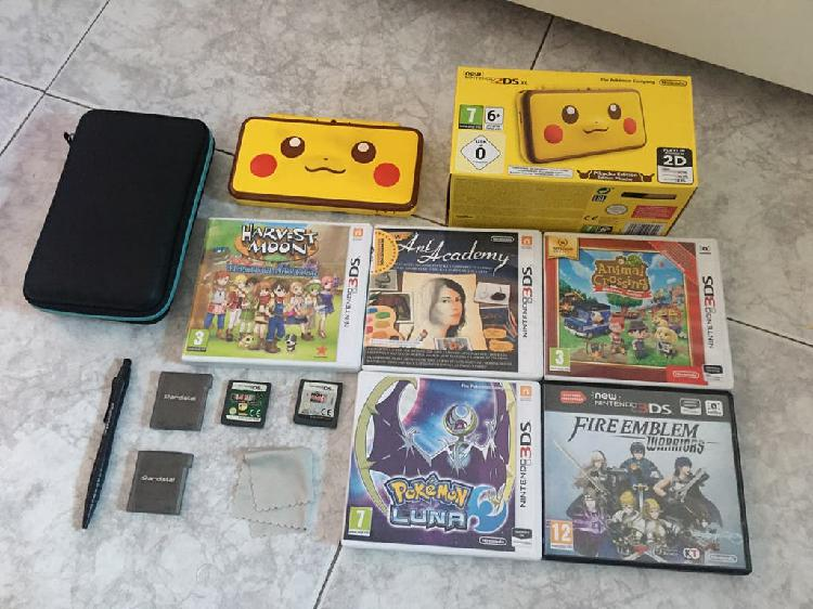 Nintendo 2ds xl edición limitada pikachu + juegos