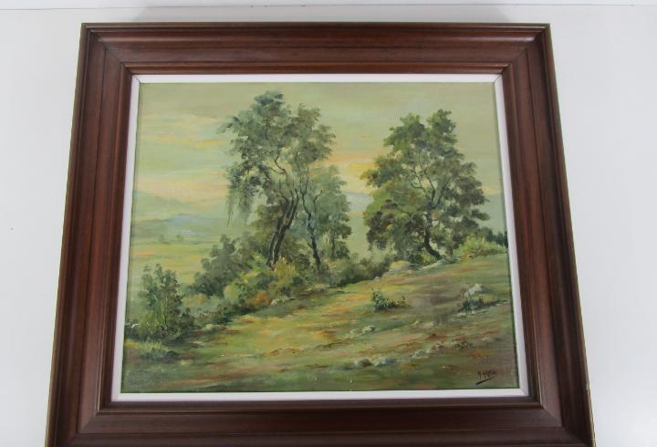 Leo sobre tela - paisaje - firma a. aragó