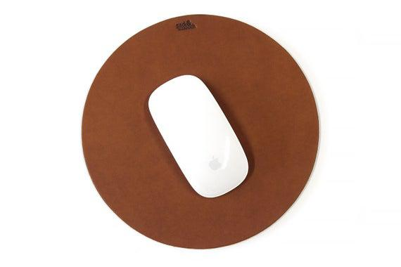 Almohadilla de ratón de cuero redondo, caucho natural de