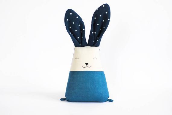Azul cama tiempo conejito peluche conejo juguete para niño,