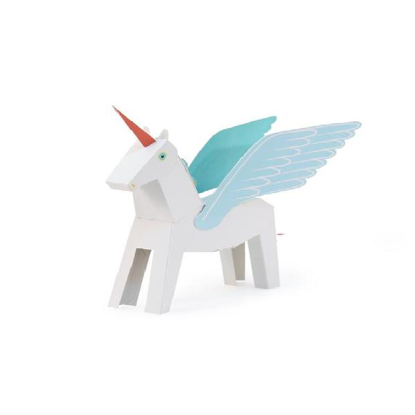 Blanco & azul pegacorn juguete de papel - diy paper craft