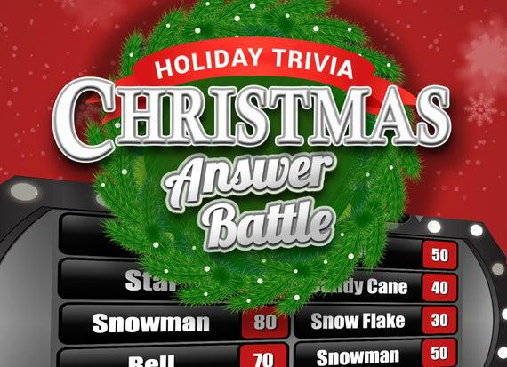 Christmas answer battle with scoreboard - trivia powerpoint