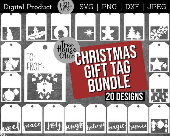Christmas gift tag svg, present tag cut file, package gift