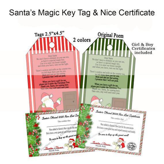 Christmas santa's magic key tag & nice certificate, magic