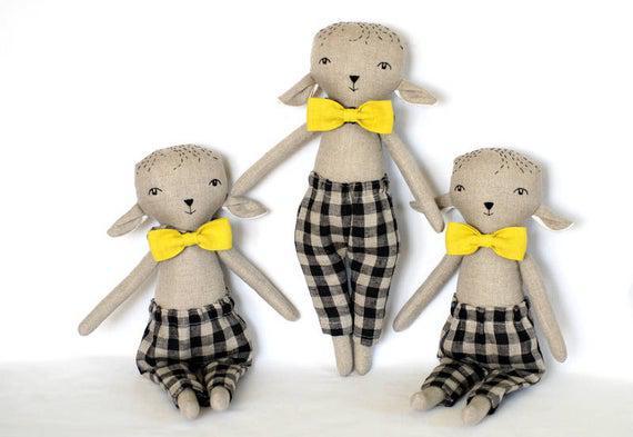 Cordero rag muñeca niño relleno juguete, tela suave animal