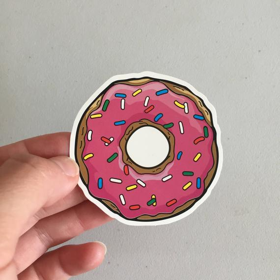 Donut sprinkles pegatina, donut portátil pegatina, vinilo