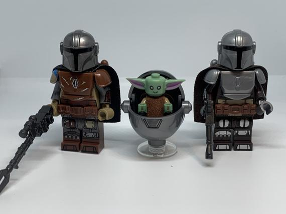 El mandalorian din djarin y bebé yoda star wars minifiguras