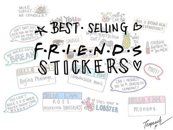 Friends tv show stickers set: 3-60 assorted glossy -