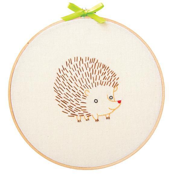 Hedgehog embroidery starter kit for beginners - wall art -
