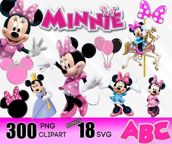 Minnie mouse clipart svg digital download, 300 png 18 free
