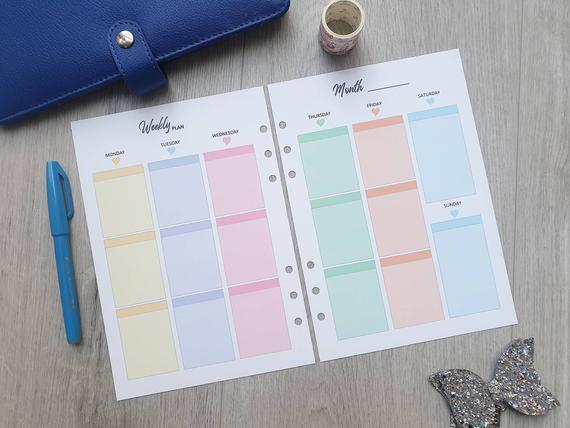 Printed a5 planner insert wo2p week en 2 páginas semanales