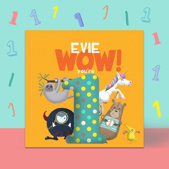 Personalizado 'wow you're one' 1er cumpleaños libro de
