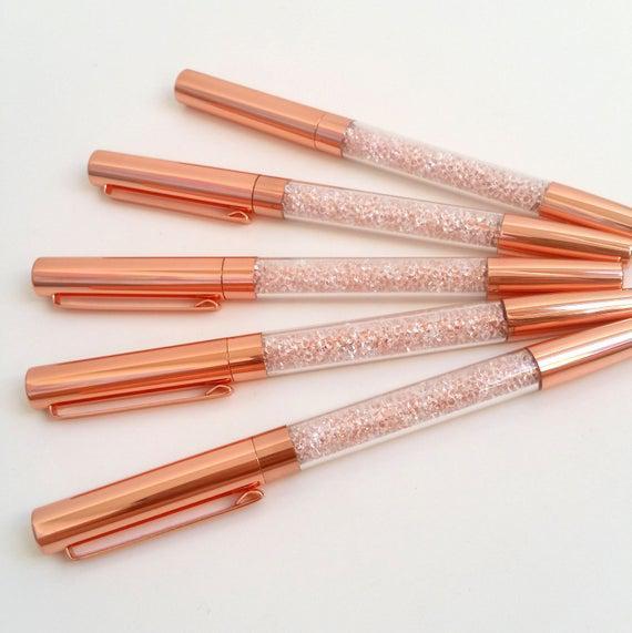 Pluma de barril de cristal de metal de oro rosa
