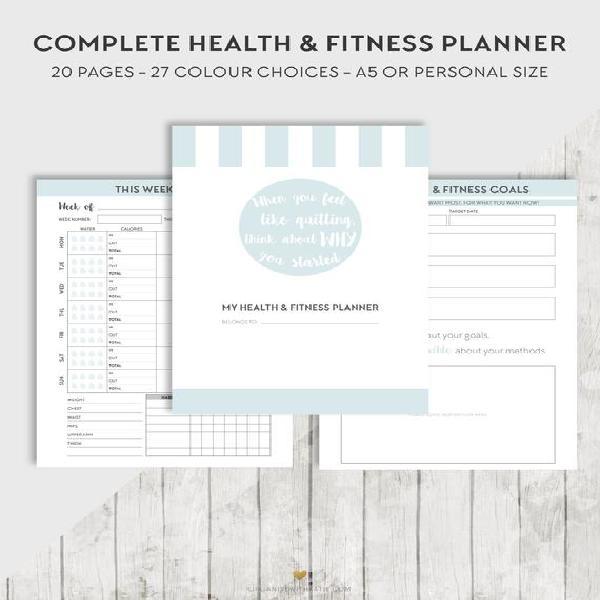 Salud + planificador de fitness, a5 anillos insertos de