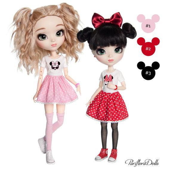 Set compuesto por camiseta con Minnie Mouse, falda punteada