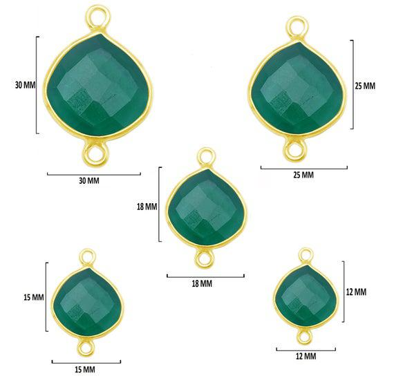 Verde onyx corazón 24k oro chapado sobre 925 plata