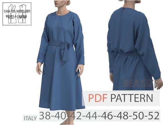 Women.blouson flared leone dress pdf pattern(waop122220)