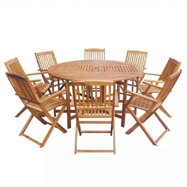 Comedor de jardín plegable 9 piezas de madera maci