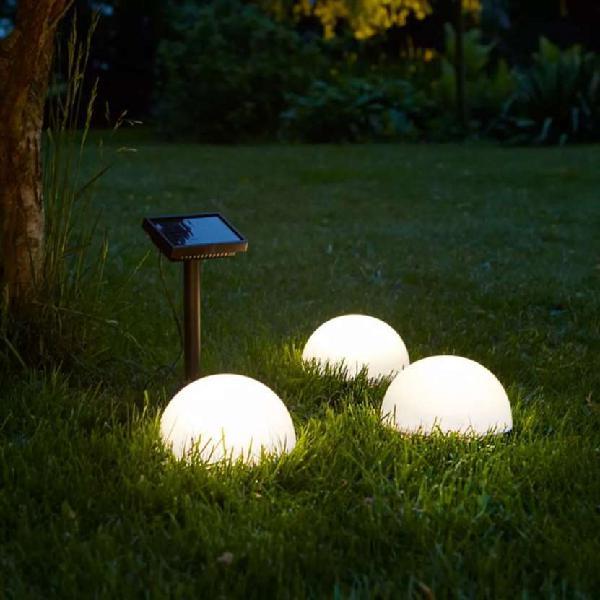 Luz led solar de suelo clervaux 3 uds blanco semi-